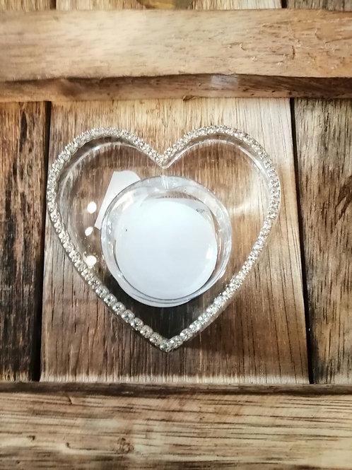 Glass Heart Tea Light Holder