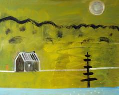 Haven (Winter cabin), 50cm x 60cm, oil,