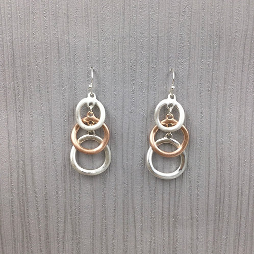 Three Tiered Gold Silver Earrings