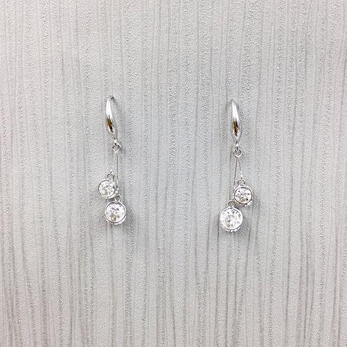 Silver Diamante Drop Earrings