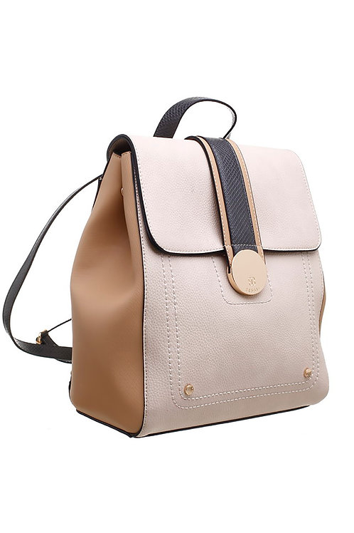 Bessie Triple Colour Flap-Over Backpack