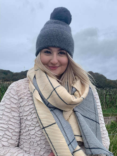 Cream and Grey Check Scarf