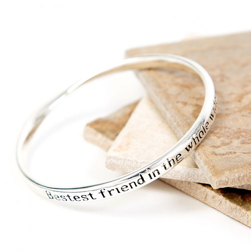 """""""Bestest Friend in the World"""" Silver Bangle"""