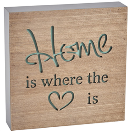 """""""Home is Where the Heart is"""" Block Sign"""