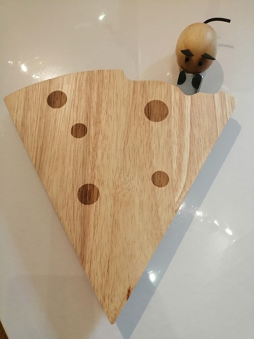 Cheese Shaped Board with Magnetic Mouse Knife