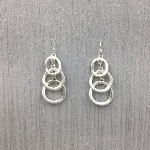 Three Tiered Silver Earrings