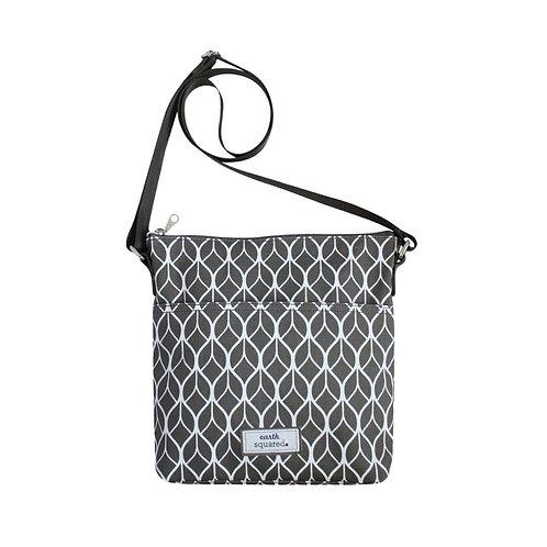 Grey Geometric Oil Cloth Messenger Bag