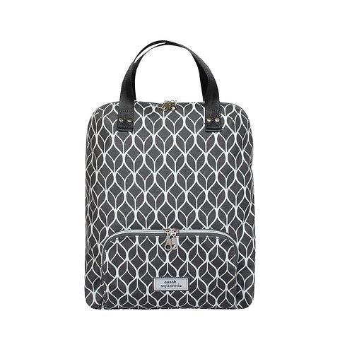 Grey Geometric Oil Cloth Backpack