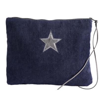 Navy Corduroy Star Make-Up Bag