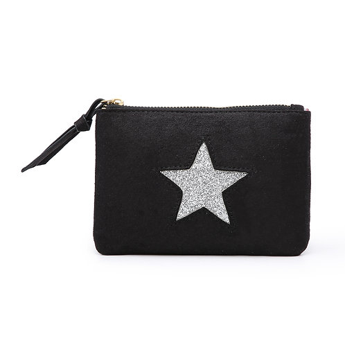 Star Medium Pouch - Black and Silver