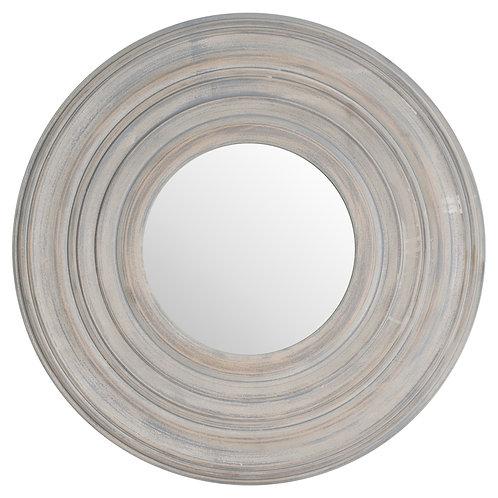 Grey Painted Round Textured Mirror