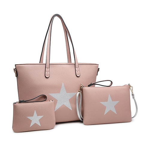 Set of 3 Tote Cross Body Pouches - Pink