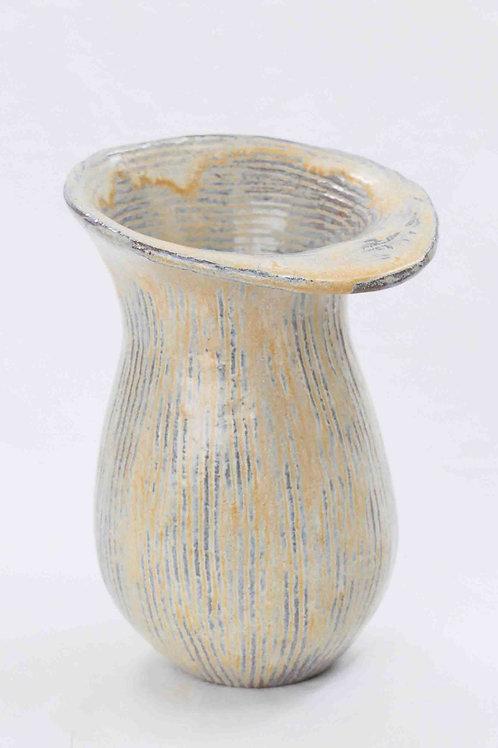 Vase perlmutt gerillt