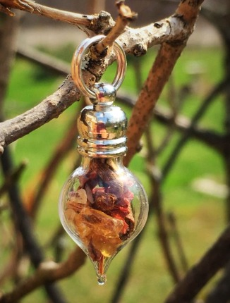 Glass vial herb and crystal pendant