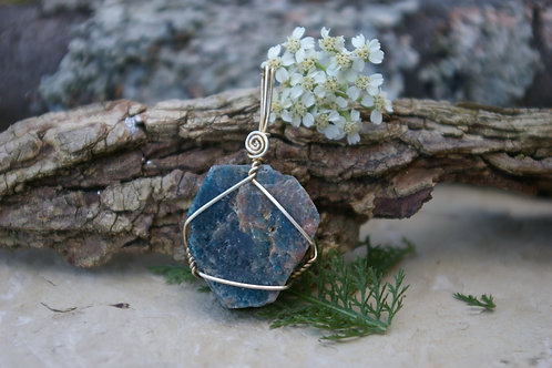 Natural blue apatite healing crystal jewelry by wicked stones in Canada