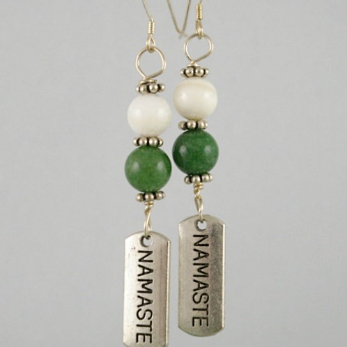 Jade and Pearl crystal earrings for calm and centering.  Handmade in Canada