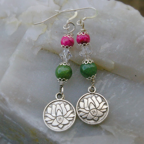 Lotus and healing yoga crystal earrings from Wicked Stones Canada