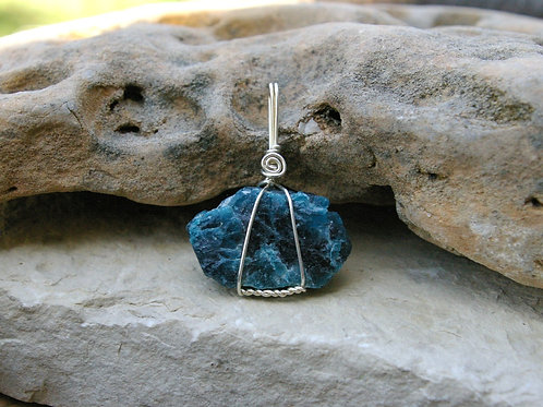 Blue Apatite healing crystal jewelry handmade in Canada by Wicked Stones