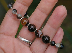 Handcrafted Agate Bracelet for calming moods and stress.  By Wicked Stones in Canada