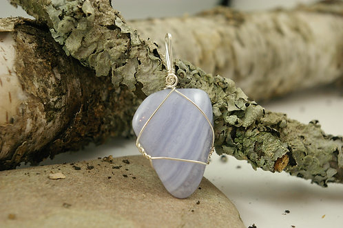 Blue Lace Agate healing crystal for calming stress, worry and anxiety. Handmade in Canada by Wicked Stones