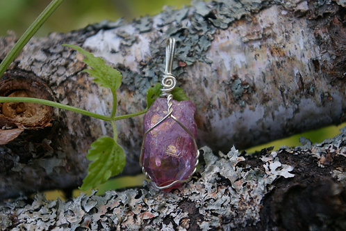 Pink Titanium Quartz healing crystal jewelry for positive energy by wicked stones in Canada