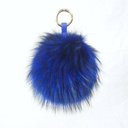 Pompon Bijou de Sac - modèle bleu électrique taille L