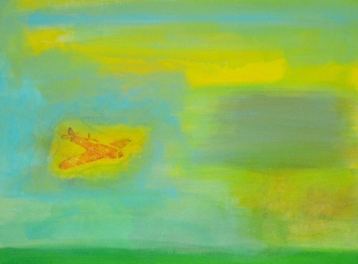 Painting of aeroplane, mixed coloured sky
