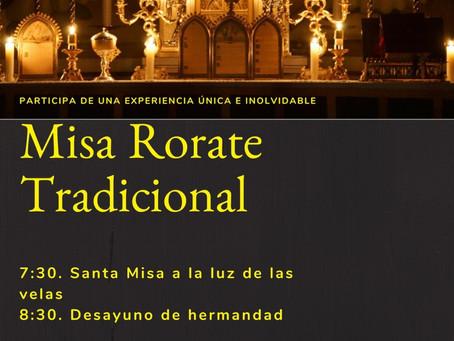 Misas Rorate el sábado 15