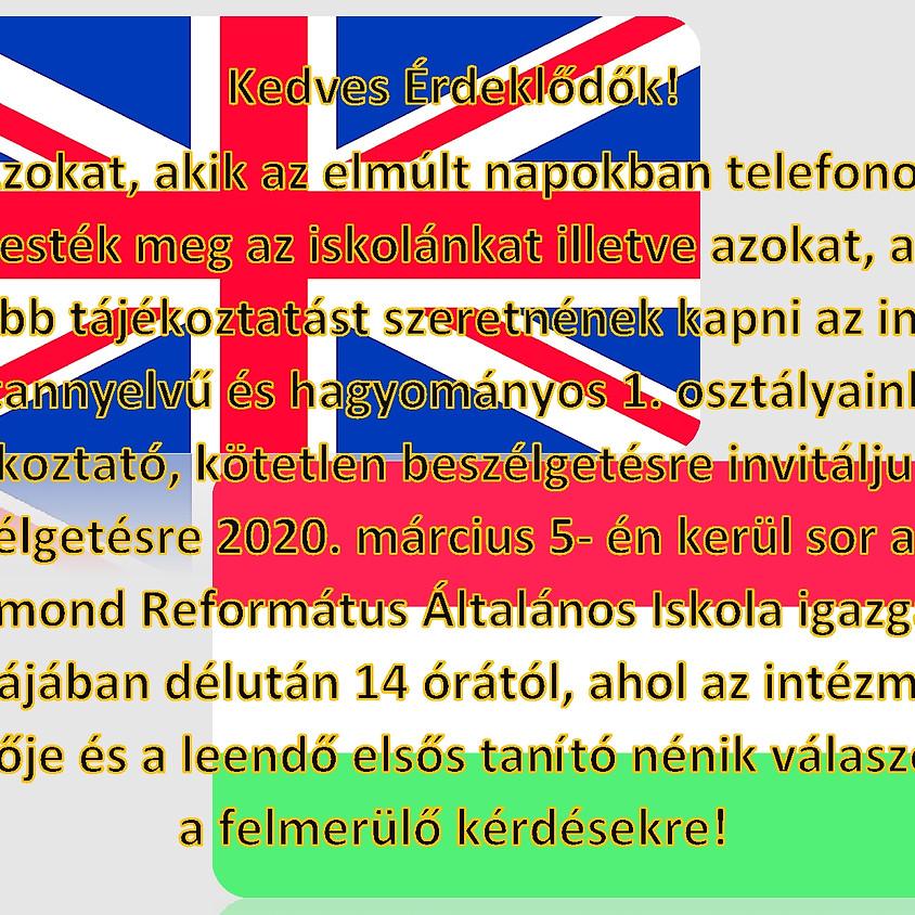 Tájékoztatás az induló kéttannyelvű és hagyományos oktatásról!