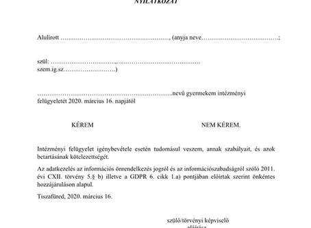 Nyilatkozat intézményi felügyelet igénybevételéről! 2020