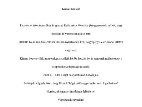 Tájékoztatás az Óvodai ellátásról! 2020