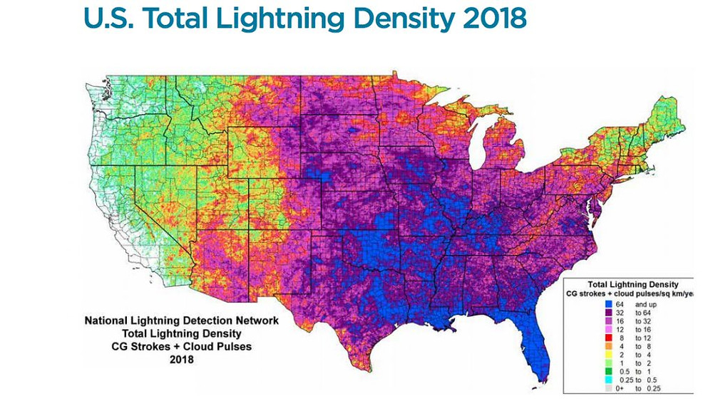 Map of the United States - US Total Lighting Density 2018