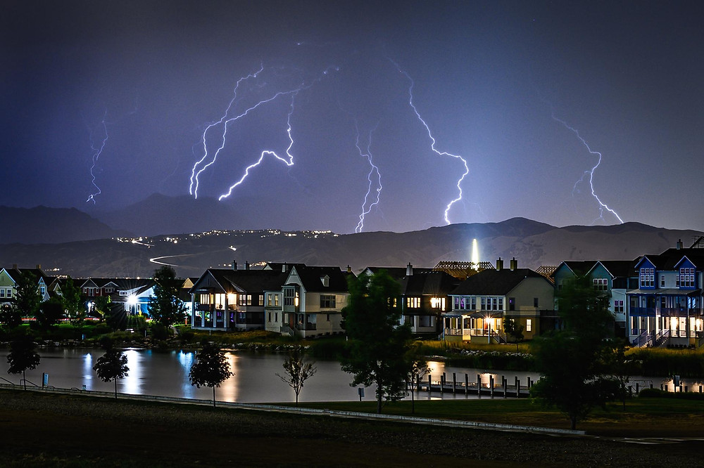 electrical storm over houses