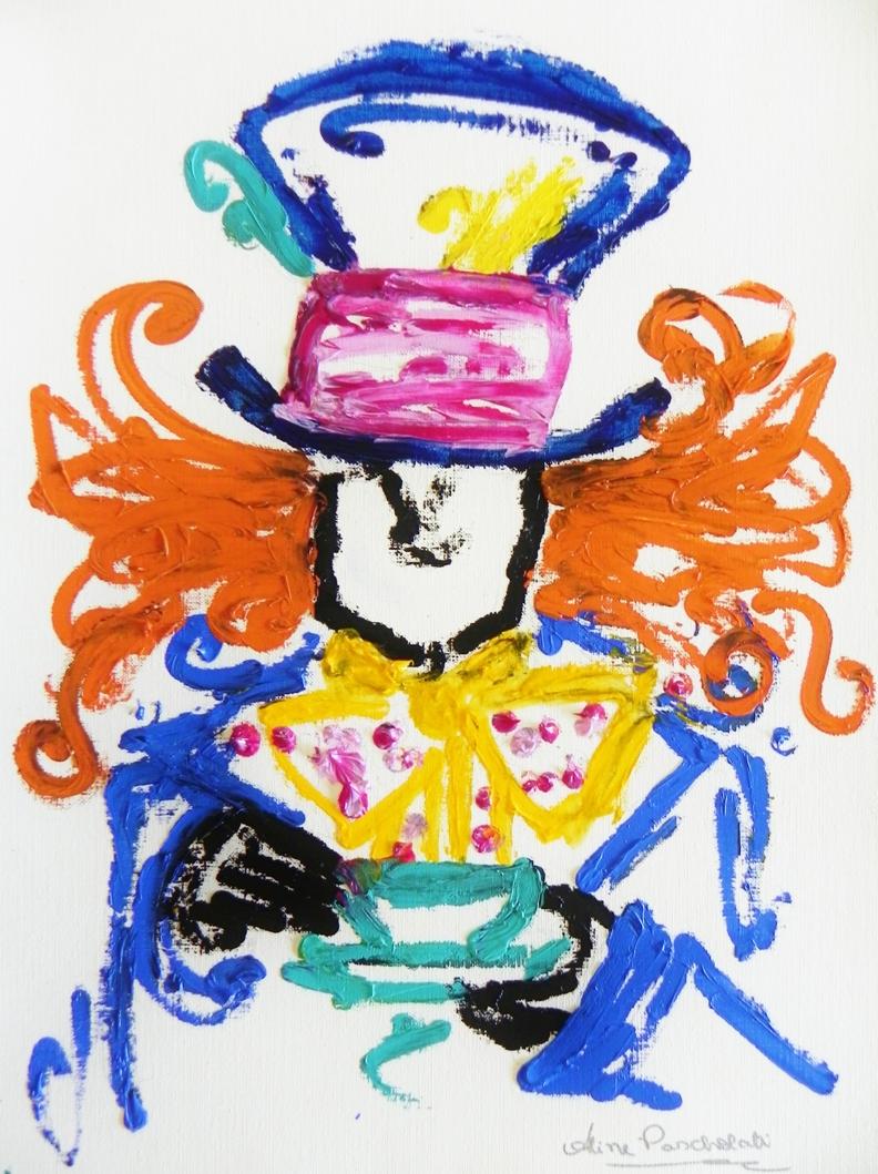 Aline PASCHOLATI, Chapelier Fou, huile sur papier toile, 42X30cm, 2012.JPG