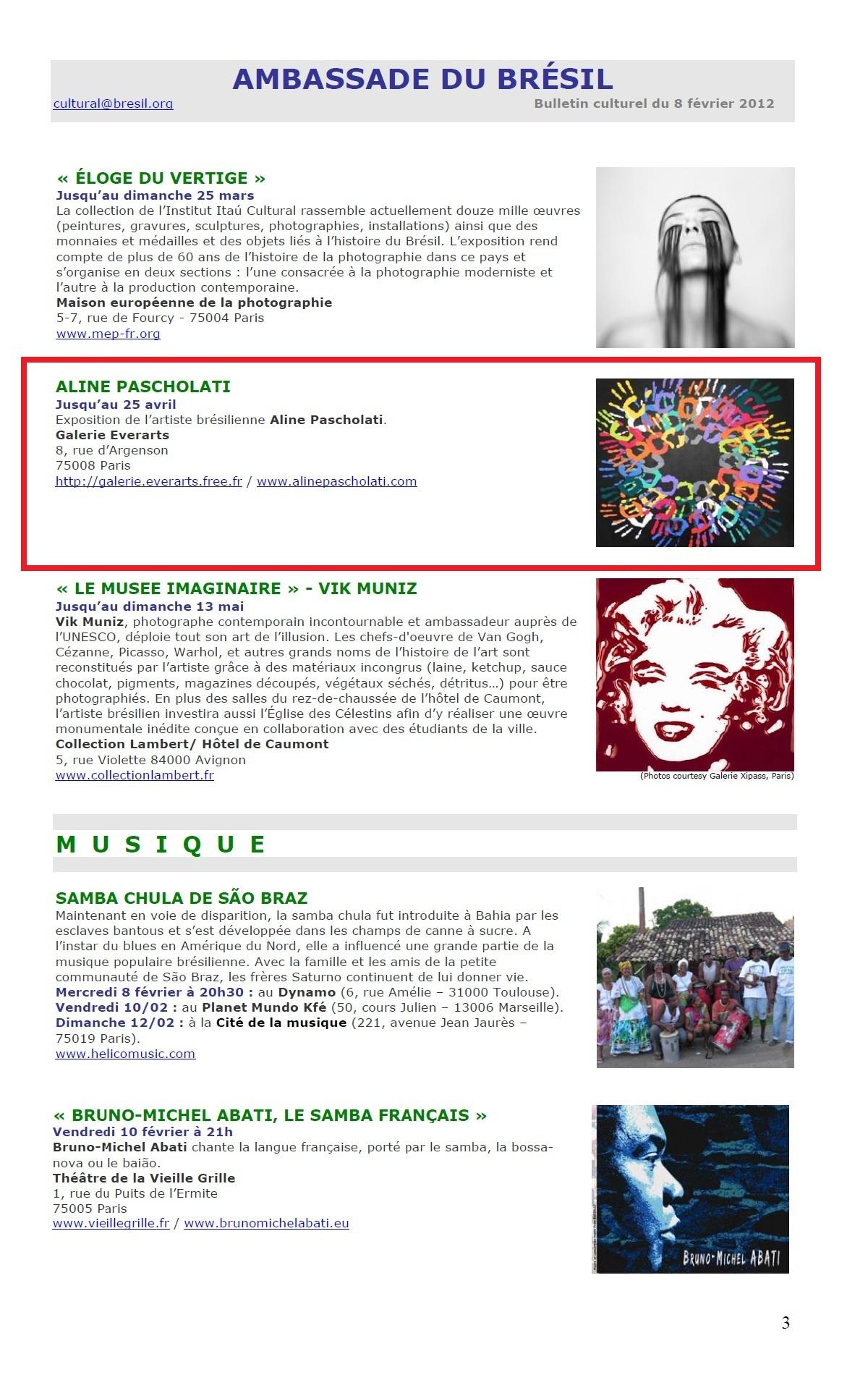 Bulletin Culturel Ambassade Brésil