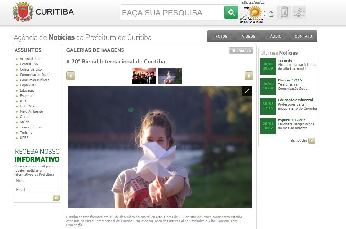Website Prefeitura de Curitiba