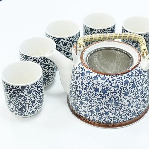 Herbal Tea Set- Blue Vines