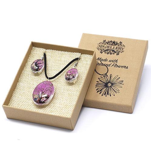 Pressed Flower Jewellery Set- Hot Pink
