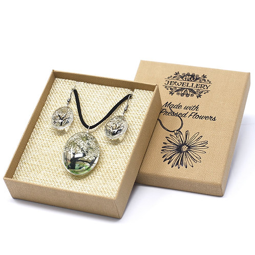 Pressed Flower Jewellery Set- White