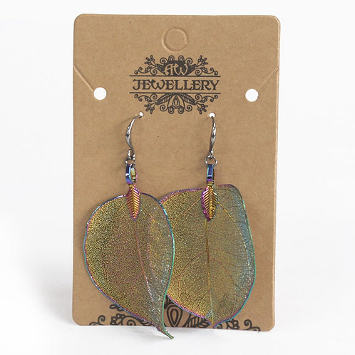Multi Coloured Leaf Earrings