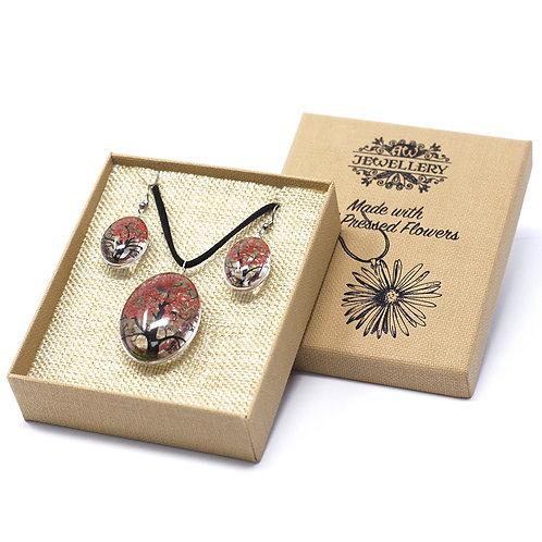 Pressed Flower Jewellery Set- Coral