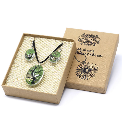 Pressed Flower Jewellery Set- Green