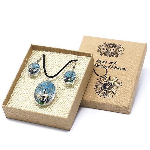 Pressed Flower Jewellery Set- Teal