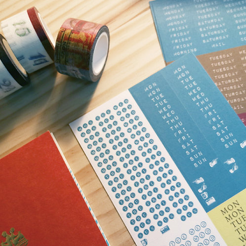 KEEP A NOTEBOOK 寫筆記 | Days / Week Labels方寸韶光系列 週付和紙貼 2 sheets a set | CKN-015