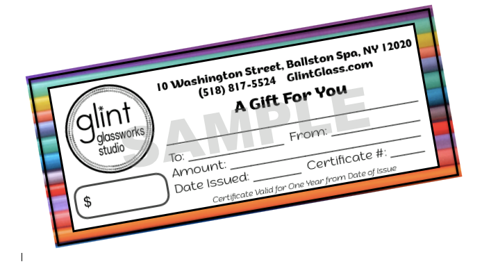 $60 Glint Glassworks Studio Gift Certificate for $50