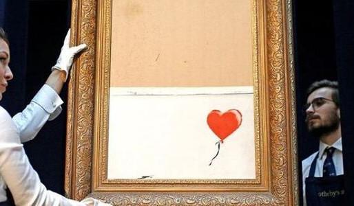 Venden en precio récord obra autodestruida de Banksy