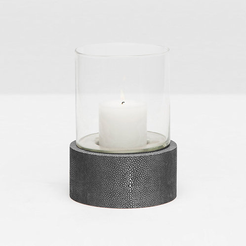 Small Round Glass Hurricane in Cool Gray Faux Shagreen Stand
