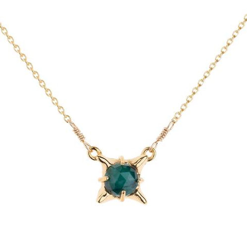 Small Pagoda Pyramid and Faceted Emerald Stone Necklace