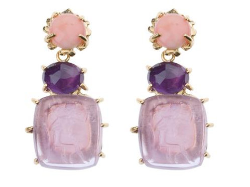 Klecks with Pink Coral, Amethyst and Lavender Bacchus Intaglio Earrings