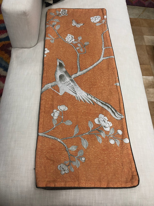 "Tangerine Orange Lumbar ""Palais Chinois"" with Bird, 19"" x 50"""